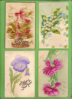 #a. Four Early  Postcards - Flower Theme, Raised Design