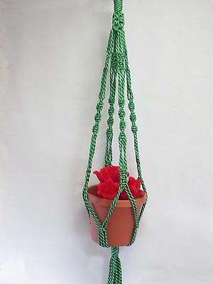 Macrame Plant Hanger 40in vintage style 6mm Lettuce (Mixed Green)