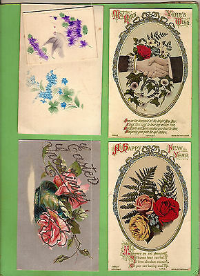 #b. Four Early  Postcards - Flower Theme, Raised Design