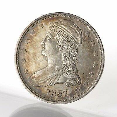 Raw 1837 Capped Bust 50C Uncertified Ungraded Reeded Edge US Silver Half Dollar
