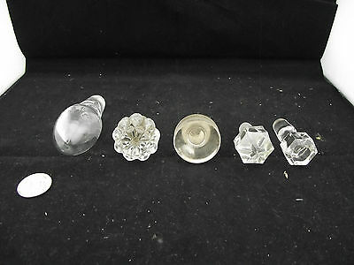 Collection Of 5 Antique Glass Bottle Decanter Cruet Apothecary Ground  Stoppers