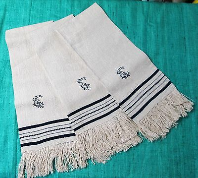 Antique 3 French Waffle Weave Linen Fringed Striped Towels E Monograms Unused