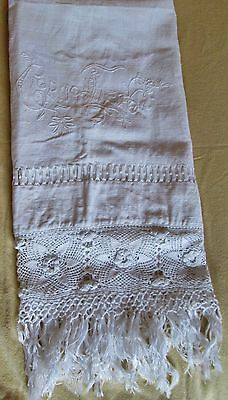 BEST Antique Italian Fringed Linen Towel GIORNO LIETO Ornate Crochet Trim