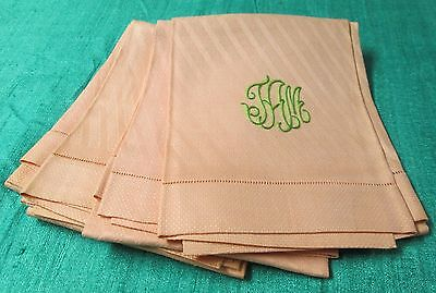 Antique 4 Pastel Linen Damask Bath Towels Green T A M Monograms Hemstitched