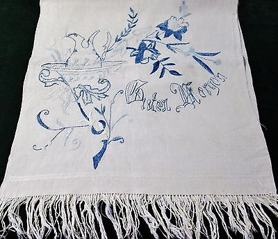 Antique German Linen Fringed Show Towel H K Monogram GUTEN MORGEN Embroidery