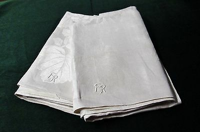 Antique Pair German Linen Damask Bath Towels F R Monogram ROSES Unused