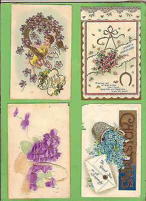 #d. Four Early  Postcards - Flower Theme, Raised Design