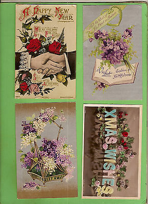 #H. Four Early  Postcards - Flower Theme