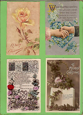 #j. Four Early  Postcards - Flower Theme