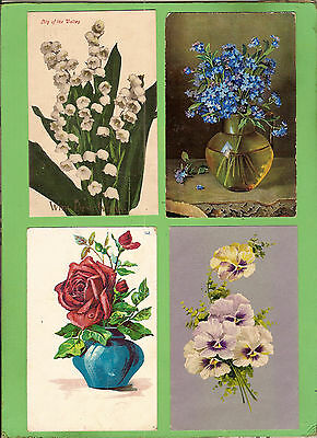 #k. Four Early  Postcards - Flower Theme