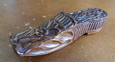 Early 19thc Carved Wooden Needlecase in the Shape of Lady's Shoe