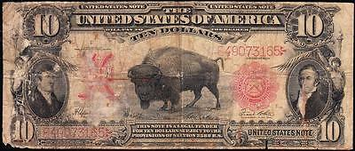 Bargain low grade SCARCE 1901 $10 BISON US Note! FREE SHIPPING! E49073165