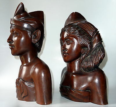 Two Large Balinese Carved Wood Sculptures Busts by A Fatimah Bali 1940s Vintage