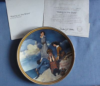 N. Rockwell's WAITING ON THE SHORE Ltd Ed plate Rediscovered Women Series