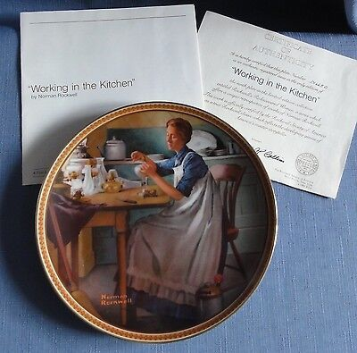 N. Rockwell's WORKING IN THE KITCHEN Ltd Ed Plate Rediscovered Women Series