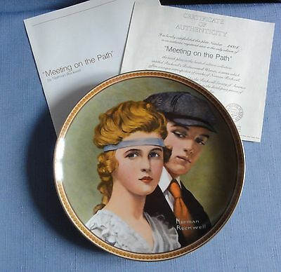 N. Rockwell's MEETING ON THE PATH Ltd Ed Plate Rediscovered Women Series