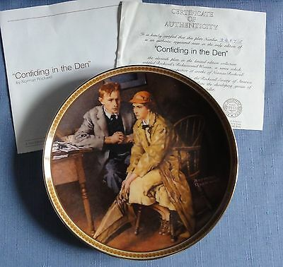 N. Rockwell's CONFIDING IN THE DEN plate Rediscovered Women Series Ltd Ed