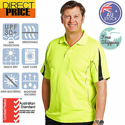 Hi Vis Polo Shirts Legend Short Sleeve Work Wear Safety Contrast True Dry
