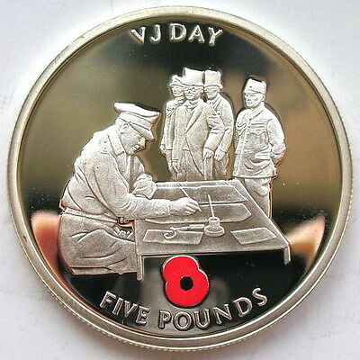 Gibraltar 2005 Victory Day 5 Pounds Silver Coin,Proof