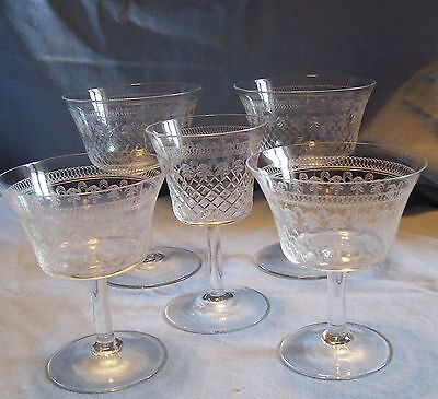 5 ELEGANT PALL MALL ETCHED GLASSES 3 different sizes Edwardian Lady Hamilton