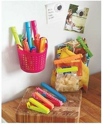 Keep Fresh Food Bag Clips w/ Magnetic Basket Set of 18 Clips Multiple Sizes
