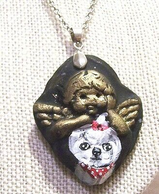 hand painted Maltese on handmade clay pendant necklace