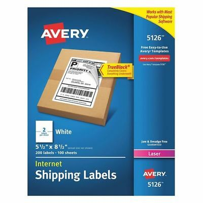 Avery Avery Shipping Label for Laser Printers 5126,White PK100, 5126