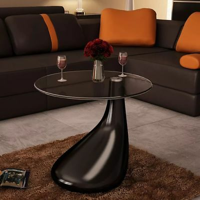 New Modern High Gloss Glass Top Drop Coffee Table Black Side Dinner Office Home