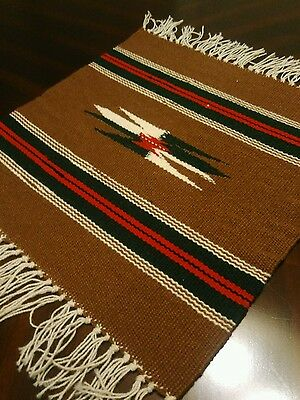 Chimayo 100% Wool Textile 14 1/2 X 14 1/2 Brown Weaving Made in New Mexico #B3