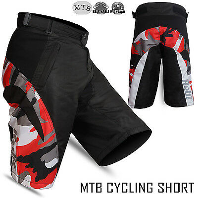 MTB Cycling Short Off Road Unisex Downhill Short Camo Design Red Size - M-L-XL