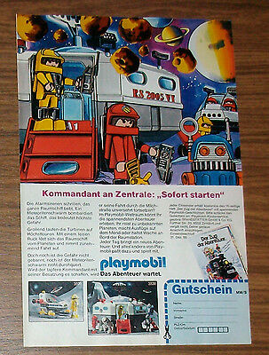 Seltene Werbung PLAYMOBIL Playmo Space Weltraumstation Roboter Comic 1986