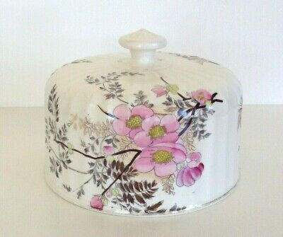 Antique Edwardian Cheese Dome Cloche Cream Pink  Blossom