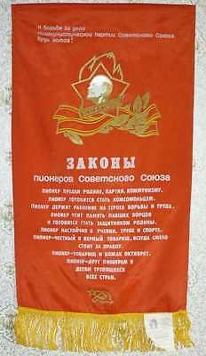 1985 Russian Soviet Union PIONEERS Boy Scouts LAWS Large Poster with Tag