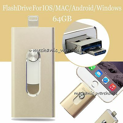 64GB i-Flash Drive OTG Device Flash USB Memory Stick For iPhone 5S 5C 6 Plus 6S