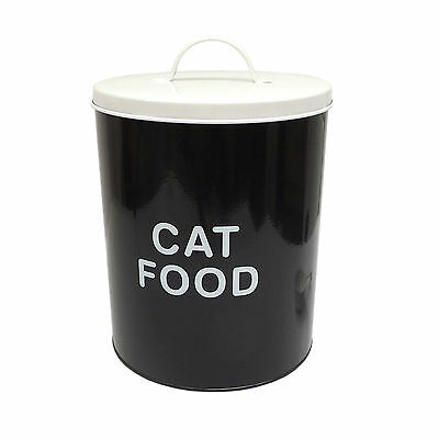 Vintage Steel Cat Food Storage Tin Container Box with scoop - For Dry Biscuits