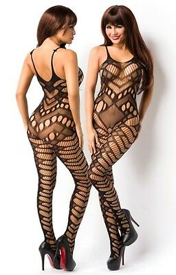 Sexy Netz Catsuit Trägerbody transparent Body Stocking Lochstruktur Bodystocking