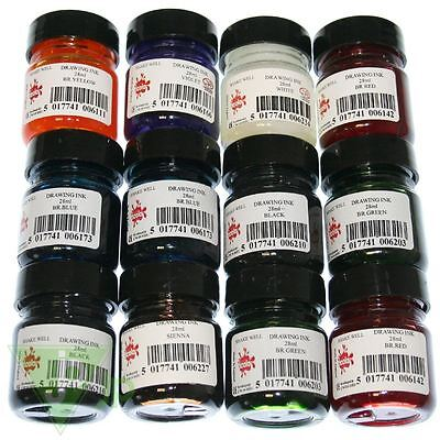 Scolaquip Set Of 12 Colour 28ml Drawing Inks Artist Caligraphy Dip Pen & Brush