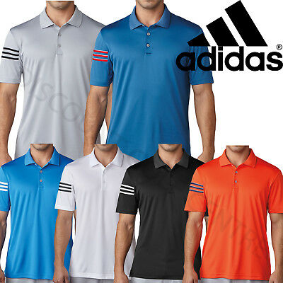 Adidas Golf 2017 Mens Lightweight Climacool 3-Stripes Club Crestable Polo Shirt