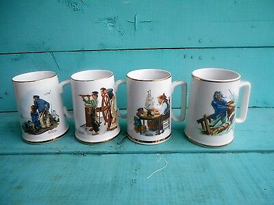 """Norman Rockwell Museum """"By The Sea"""" Mugs 1985 Nautical Coffee Cups"""
