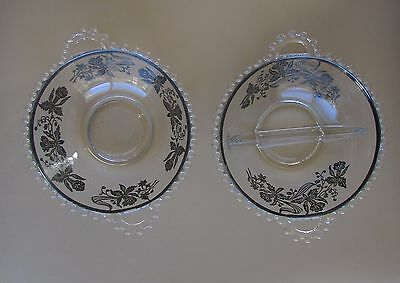 Candlewick Iris Floral Silver Overlay Relish Divided Section Dish Bowl Handle