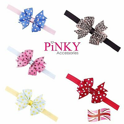 Elastic Baby Headdress Kids Hair Band Girls Bow Newborn Headband Ribbon Leopard