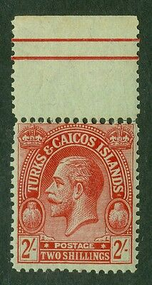 SG 174 Turks & Caicos 2/- red/emerald. Fine unmounted mint. Top marginal CAT £25