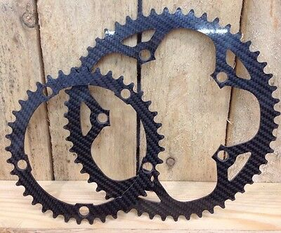 Carbon Fibre Campagnolo Pattern Chainrings 53t And 39t 135 BCD