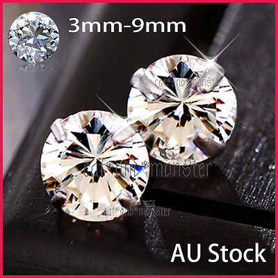 Sterling Silver Mens Women Kids Ct Simulated Signity Diamond Round Stud Earrings
