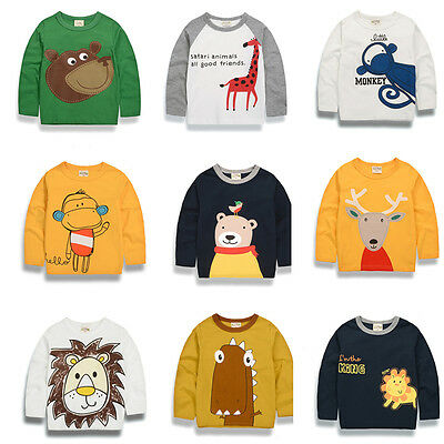 Kid Baby Boy Cute Animal Graphic Print Long Sleeve T Shirt Pullover Blouse 2-7T
