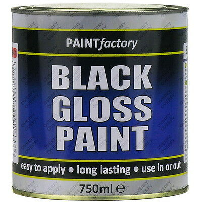 750ml Long Lasting Black Gloss Paint Can Easy To Apply Indoor Outdoor Adhesion