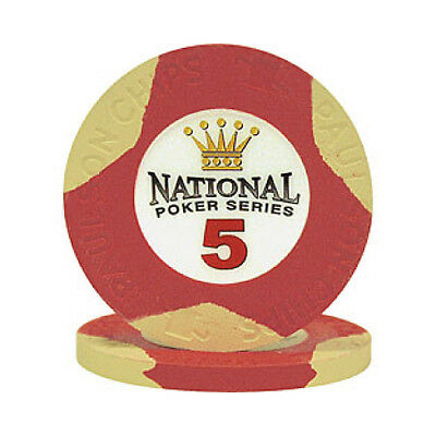 $5 Red National Poker Series Paulson Clay Chip - 25 Chips - IN STOCK NEW