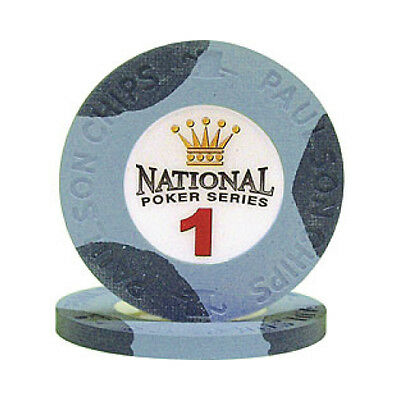 $1 Blue National Poker Series Paulson Clay Chip - 25 Chips - IN STOCK NEW