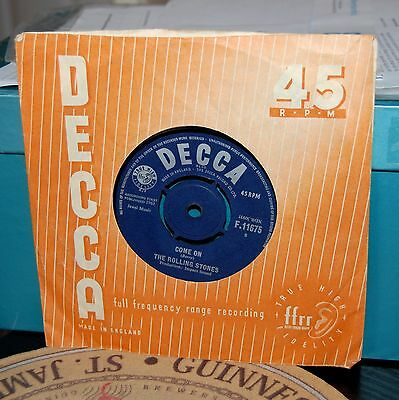 "The Rolling Stones.  ""come On / I Want To Be Loved""  Decca Uk 7"" 1963. Orig."