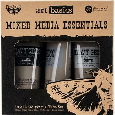 Gesso x3 Tubes  Prima Mixed Media Finnabair Clear, Heavy White & Heavy Black